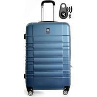 Kit Com Mala De Bordo Double Wheel E Localizador Bluetooth Reaggio Com Rodas 360º Santino - Unissex-Azul