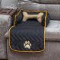 Protetor De Sofá Pet Preto Matelado 45Cm X 88Cm X 15Cm Porte Pequeno + Almofada Ossinho