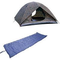 Kit Barraca Camping Camuflada Amazon 4P Nautika + Colchonete Resistente Camp Mat - Unissex