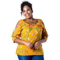 Blusa Plus Size Ombros Vazados Floral Lenner Feminina - Feminino-Amarelo