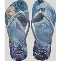Chinelo Infantil Havaianas Slim Estampado Frozen Elsa Azul Claro