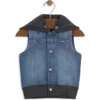 Colete Jeans Com Recortes - Azul & Cinza- Up Babyup Baby - Up Kids