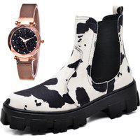 Bota Coturno Tratorada Estampa Cow Com Relógio Gold Feminino Dubuy 1504Mr Preto