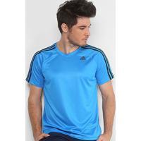 Camiseta Adidas D2M 3Stripes Mc Masculina - Masculino-Azul