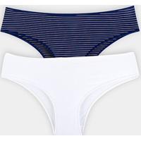 Calcinhas Bonjour Kit Calcinha Laterais Largas Feminina - Feminino-Azul+Branco