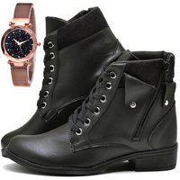 Bota Coturno Cano Curto Fashion Com Relógio Gold Dubuy 603El Preto