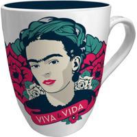 Caneca De Porcelana Branca Viva Frida Kahlo Urban Home