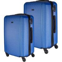 Conjunto De Malas De Viagem Expansível Em Abs Gosuper Munique Cadeado Embutido 2 Peças - Unissex-Azul Escuro