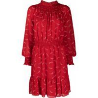 Michael Michael Kors Vestido Evasê Com Pregas - Vermelho
