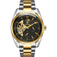 Relógio Tevise 795A Masculino Automático Pulseira Aço - Preto E Dourado