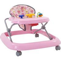 Andador Para Bebê Com Bandeja De Brinquedos - Unissex-Rosa