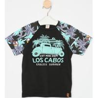 "Camiseta ""Los Cabos""- Preta & Verde ÁGua- Infantilcostã£O Fashion"