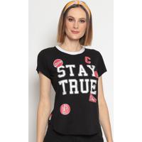 """Blusa """"Stay True""""- Preta & Branca- Coca-Colacoca-Cola"""