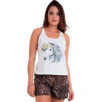 Pijama Short Doll Regata Animal Print Feminino Em Algodão Luna Cuore