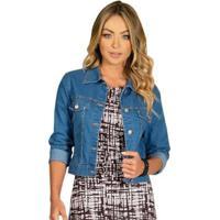 Jaqueta Jeans Quintess Feminina - Feminino-Azul