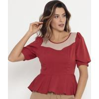 Blusa Peplum Com Tule Operate Feminina - Feminino-Vermelho Escuro