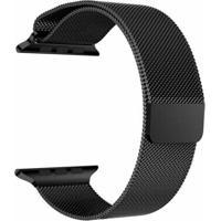 Pulseira Milanês Para Apple Watch 38Mm Aço Inoxidável Preto