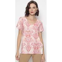 Blusa Com Arabescos & Recortes- Off White & Coral- Ccotton Colors Extra