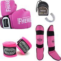 Kit Boxe Muay Thai Orion Luva Bandagem Bucal Caneleira 14 Oz Rosa/Branco