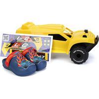 Sandália Infantil Grendene Kids Hot Wheels Monster Truck Babuche Com Carrinho - Masculino-Azul