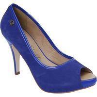 Peep Toe Em Couro Acamurã§Ado- Azul- Salto: 9Cmcarmen Steffens