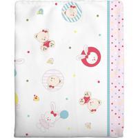 Cobertor Incomfral Ursinha Para Bebê 90Cm X 1.10M Branco/Rosa