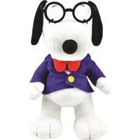 Pelúcia Média - 30 Cm - Snoopy - Gravata E Óculos - Dtc - Unissex