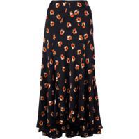 Diane Von Furstenberg Floral Print Flared Skirt - Preto