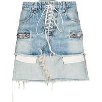 Unravel Project Saia Jeans Com Amarração - Azul