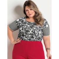 Blusa Tropical E Chevron Plus Size