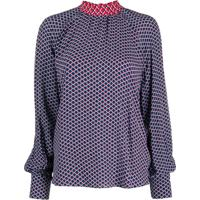Kenzo Fishnet-Print Pussy-Bow Blouse - Azul