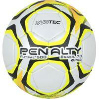 49d66b3a2b ... Bola De Futsal Penalty Brasil 70 500 Pro Ix - Branco Amarelo