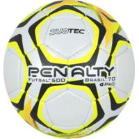 75bd1d66c5 Bola De Futsal Penalty Brasil 70 500 Pro Ix - Branco Amarelo