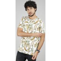 Camiseta Masculina Comfort Fit Estampada De Folhagem Manga Curta Gola Careca Off White