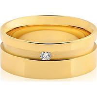 Aliança De Casamento Ouro Amarelo E Diamante (8Mm)