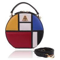 Bolsa Redonda Campezzo Couro Mondrian Artball