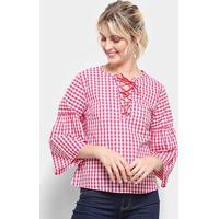 Blusa Top Moda Bata Xadrez Amarração Feminina - Feminino-Vermelho