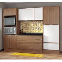 Conjunto Cozinha Nogueira Com Rodapé 08 Módulos Marrom E Branco 13 Portas - Multimóveis