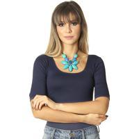 Blusa Feminina Meia Manga Azul Marinho Decote Redondo.