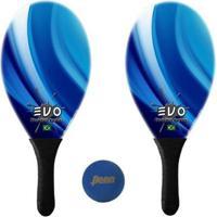 Kit Raquetes Frescobol Evo Fibra Vidro Blue + Bola Penn - Unissex