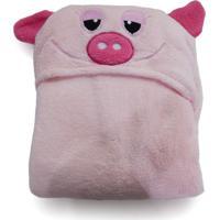 Manta Bouton Infantil Com Capuz Microfibra Pig Rosa
