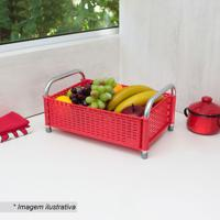 Fruteira De Mesa Decorativa- Vermelha & Prateada- 16Metaltru