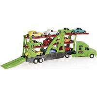 Veículo - Caminhão Cegonheira Com Carrinhos - Frota Forte - Verde - Fun