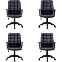 Conjunto Com 4 Cadeiras De Escritório Diretor Giratórias Fitz Com Braços Ajustáveis Preto