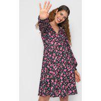 Vestido Fiveblu Curto Floral Preto/Rosa
