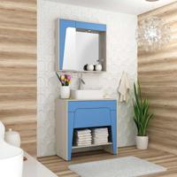 Conjunto Para Banheiro Elisa Ii Taeda E Azul Neon