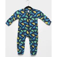 Macacão Infanti Longo Candy Kids Pijama Soft Zíper Dino Baby - Masculino-Marinho