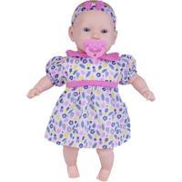 Boneca - 44Cm - My Sweet Baby - Vestido Rosa Com Folhas E Flores - Cotiplás