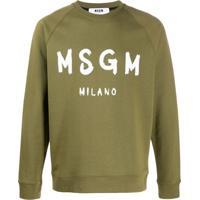 Msgm Moletom De Algodão Com Estampa De Logo - Verde