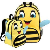 Kit Infantil Mochila Escolar Mumagi + Mochila Passeio Abelha Feminina - Feminino-Amarelo+Preto